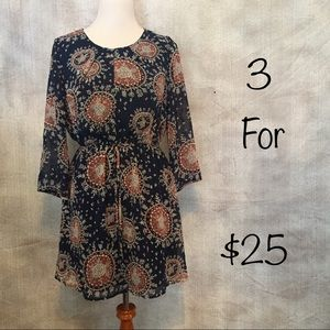 Forever 21 bohemian pheasant navy blue/rust dress